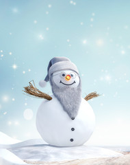 Grandpa Snowman with beard and glasses in winter landscape 3D Rendering