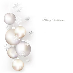 Christmas balls. Snowflakes. Background. Christmas decorations. Festive vector illustration.