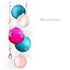 Christmas balls. Snowflakes. Background. Christmas decorations. Festive vector illustration. Garlands.