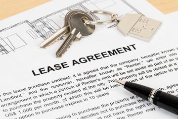 Rental agreement paperwork; document is mock-up