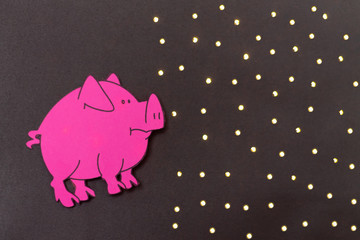 Chinese Zodiac Sign Year of Pig, Pink paper cut pig,Happy New Year 2019 year. Black background