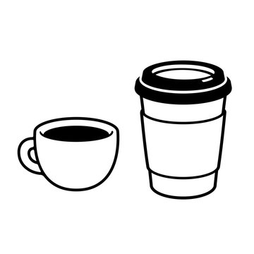 Two coffee cups drawing