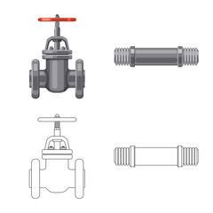 Vector design of pipe and tube symbol. Set of pipe and pipeline vector icon for stock.