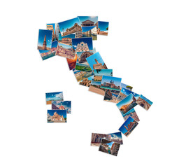 Photo collage made of Italy travel landmarks