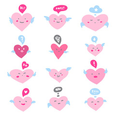 Valentines day illustration. Set, collection of various flat funny hearts with wings and cartoon doodle emoji faces. Emoticons with facial expressions, emotions - love, surprise, shame, joy, jealousy