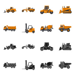 Vector illustration of build and construction symbol. Collection of build and machinery vector icon for stock.