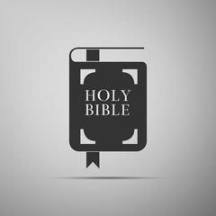 Holy bible book icon isolated on grey background. Flat design. Vector Illustration