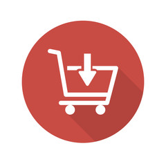 Flat Shopping Cart web icon on red button with drop shadow