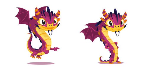 Сouple of cute cartoon dragon characters for kids