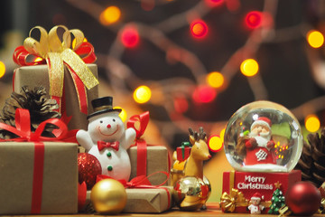 Merry Christmas and happy new year Gifts copy space Bokeh background