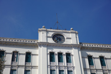 Clock on closed hotel building on Lido Island in Venice 4298