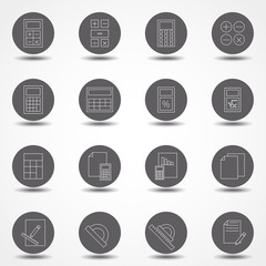 Simple Set of Calculation Related Vector Line Icons. Stock vector