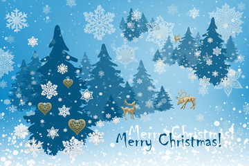 Christmas and New Year decorations: Christmassy fir-tree with snowflakes on blue background.
