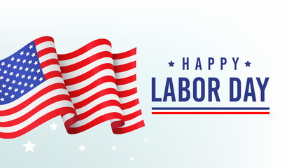 Happy labor day, banner, poster with congratulations and fluttering American flag, inscription on white background, vector illustration