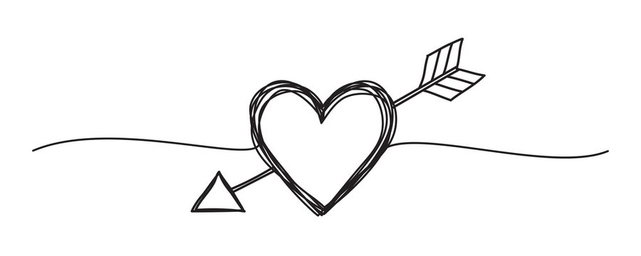 Banners with tangled grungy heart and arrow scribbles
