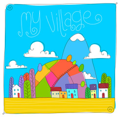 childish village drawing. vectoral line art. children books, magazines, web pages.