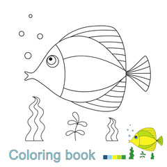 illustration of swimming fish for coloring book. Simple educational game for kids