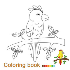 illustration of parrot sitting on the branch for coloring book. Simple educational game for kids
