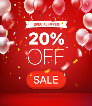 Special offer concept. 20 percent off. Vector illustration