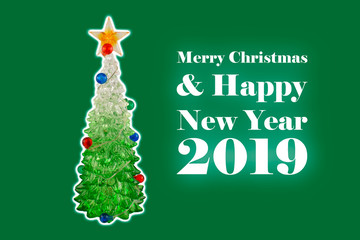 Merry Christmas and Happy New Year 2019 illustration. Green christmas background with a tree stock images. Simple Christmas card
