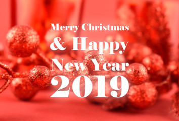 Merry Christmas and Happy New Year 2019 illustration. Red christmas background. Simple Christmas card. Red Berry Branche on a red background. Shiny red decoration