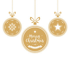 Christmas wishes ornaments golden baubles hanging isolated background