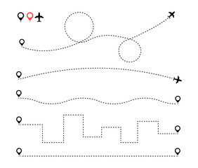 Wall Mural - Airplane is in a dotted line. Tourism and travel. The waypoint is for a tourist trip. and his track on a white background. Vector illustration. EPS10.