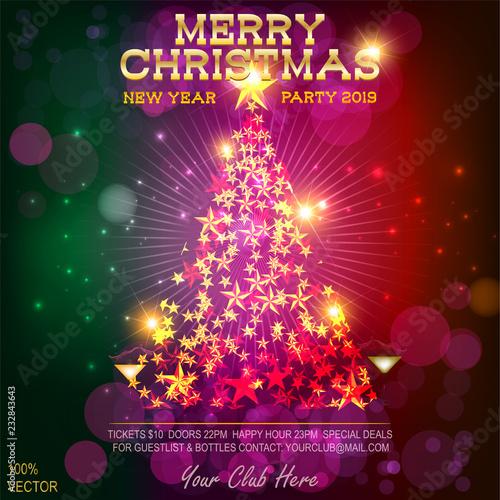 Christmas Vector Eps 10 2019 New Year Party Invitation On Dark