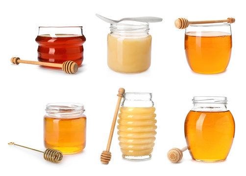 Set with different types of sweet honey on white background