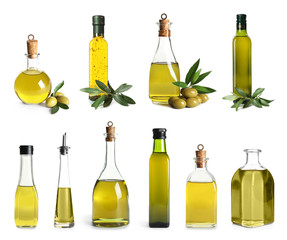 Set with olive oil bottles on white background