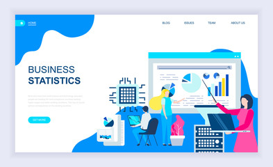 Modern flat design concept of Business Statistic with decorated small people character for website and mobile website development. UI and UX design. Landing page template. Vector illustration.