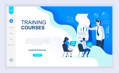 Modern flat design concept of Training Courses with decorated small people character for website and mobile website development. UI and UX design. Landing page template. Vector illustration.