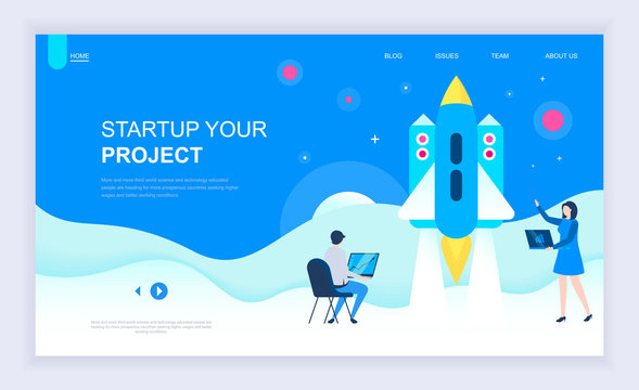 Modern flat design concept of Startup Your Project with decorated small people character for website and mobile website development. UI and UX design. Landing page template. Vector illustration.