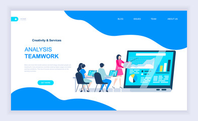 Modern flat design concept of Analysis Teamwork with decorated small people character for website and mobile website development. UI and UX design. Landing page template. Vector illustration.