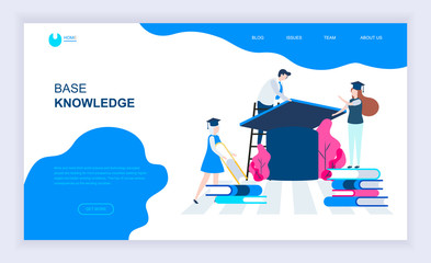 Modern flat design concept of Base Knowledge with decorated small people character for website and mobile website development. UI and UX design. Landing page template. Vector illustration.