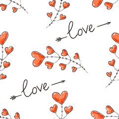 Hearts, arrows and love inscription. Seamless background for Valentine Day. Romantic vector pattern for wallpaper, wrapping, design of greeting cards, leaflets, holiday invitations.
