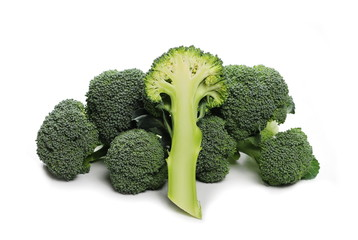 Fresh broccoli half isolated on white background