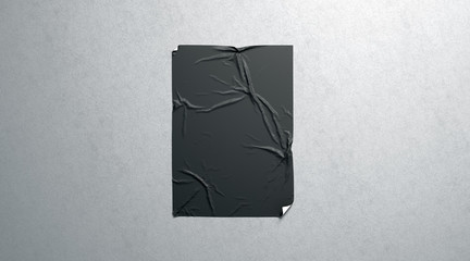 Blank black wheatpaste adhesive poster mockup on textured wall