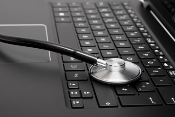 Stethoscope placed on keyboard