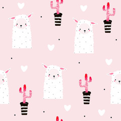 Seamless pattern with cute llama and pink cacti. Vector hand drawn illustration.