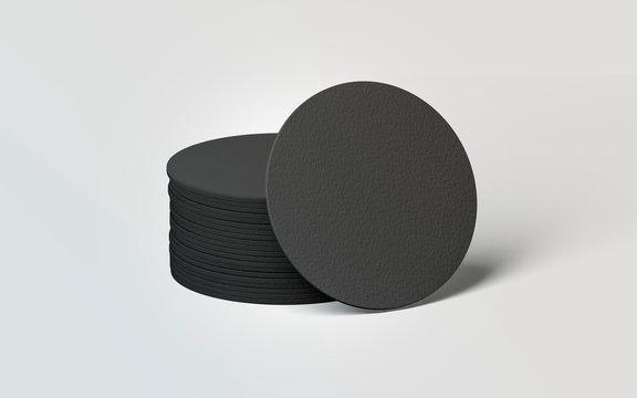 Blank black round beer coasters stack mockup