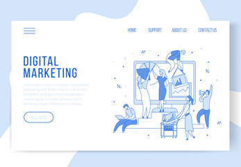 Modern cartoon flat characters,landing page template web online digital marketing concept with ready to use buttons.Flat little people working,programming,moving,setting,making graphs and diagrams