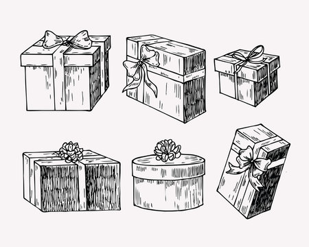 Hand drawn vintage illustration of present box, gift package with a bow and ribbon.