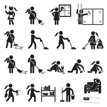 People cleaning icon set. Vector.