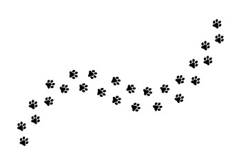 Paw vector  foot trail print of cat. Dog, silhouette animal diagonal track