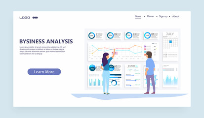 Vector web site linear art design template. Finance charts and diagrams. Modern flat design concept of Data Analysis for website and mobile website. Landing page template. Easy to edit and customize.