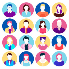 set of colorful flat icons. portraits of people. vector illustration