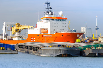 Offshore supply ship anchored in port of Rotterdam,Netherlands.