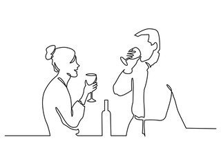 Couple drinking wine continuous one line vector drawing
