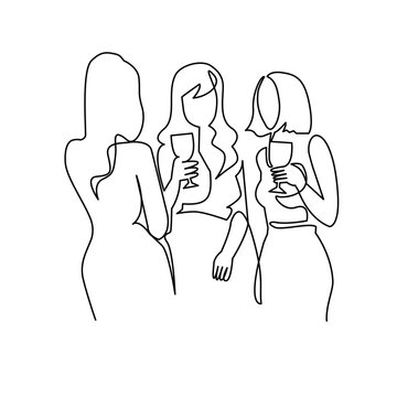 Girls drinking alcohol continuous one line vector drawing